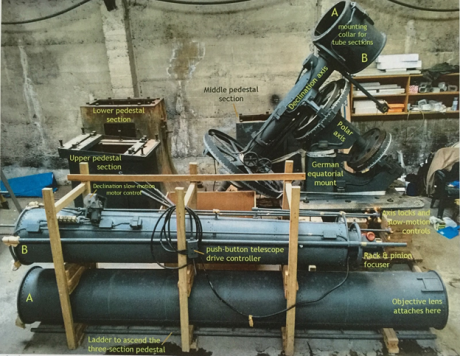 All the different parts of the Brashear Telescope when they first arrived for restoration. photo credit: Dallas Poll