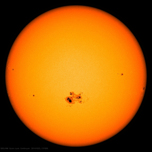 The sun spot is almost 12800 km across. Image from NASA's Solar Dynamic Observatory captured on Oct. 23, 2014